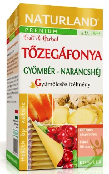 Naturland Prémium Tőzegáfonya Gyömbér-Narancshéj teakeverék (gyümölcstea) 20x2 g filter